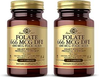 Solgar Folate 666 mcg DFE (Folic Acid 400 mcg), 100 Tablets - Pack of 2 - Heart Health - Prenatal Support - Non-GMO, Vegan...