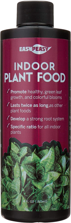 Liquid Indoor Plant Food, All-Purpose Indoor Plant Fertilizer, Liquid Plant Food, Easy Peasy Plants House Plant Fertilizers 4-3-4 Plant Nutrients, House Plant Food | Lasts Same as 8 oz Bottle