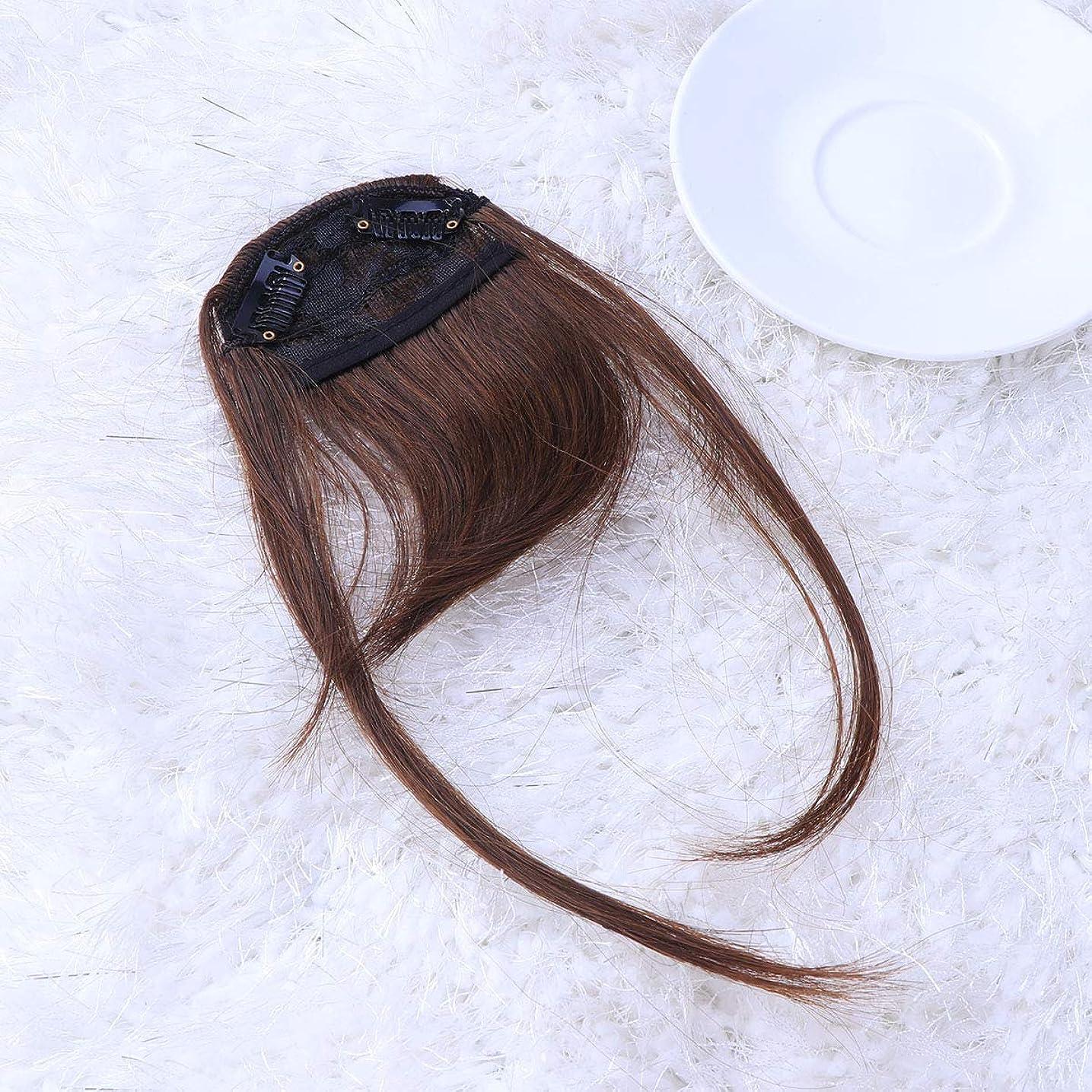 ドキュメンタリー学士トンネルLurrose フロントフリンジ前髪クリップエアフリンジヘアピースヘアエクステンションかつら女性用女の子(ライトブラウン)2ピース