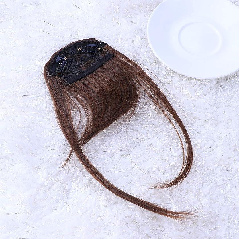 集中的なアシスタント血統Lurrose フロントフリンジ前髪クリップエアフリンジヘアピースヘアエクステンションかつら女性用女の子(ライトブラウン)2ピース