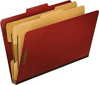 Pendaflex Top-Tab Pressboard Classification Folders, 2/5 Cut, Legal Size, Brick Red, 10 per Box (2257R)