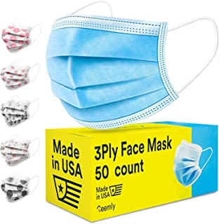 Ceemly 3Ply USA Made Face Mask - Disposable, Single-Use, 50 CT