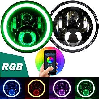 "Aukmak 7 inch LED Headlights RGB Halo Ring Angel Eyes 7"" Round Multicolor DRL Bluetooth Remote Control for Jeep Wrangler JK LJ CJ Sahara Sport Rubicon Headlamp 1997~2017"