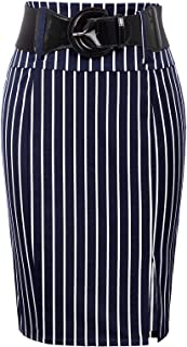 Women's Stretchy Pencil Skirt Side Pleated Business Skirts with Belt KK271(28 Color)