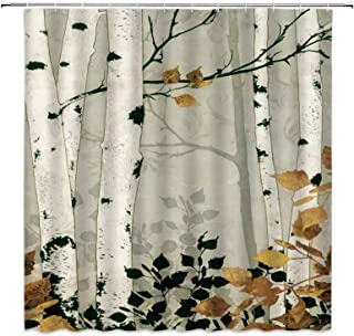 Birch Trees Shower Curtain Autumn Forest Decor Mottled Trunk Yellow Leaves Deciduous Woodland Nature Image,Fabric Hooks In...