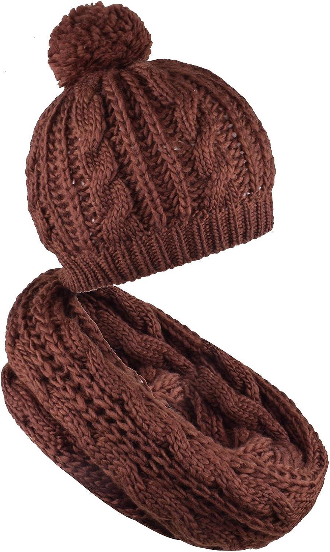 WDSKY Women's Knit Pom Pom Beanie Winter Infinity Scarf Set