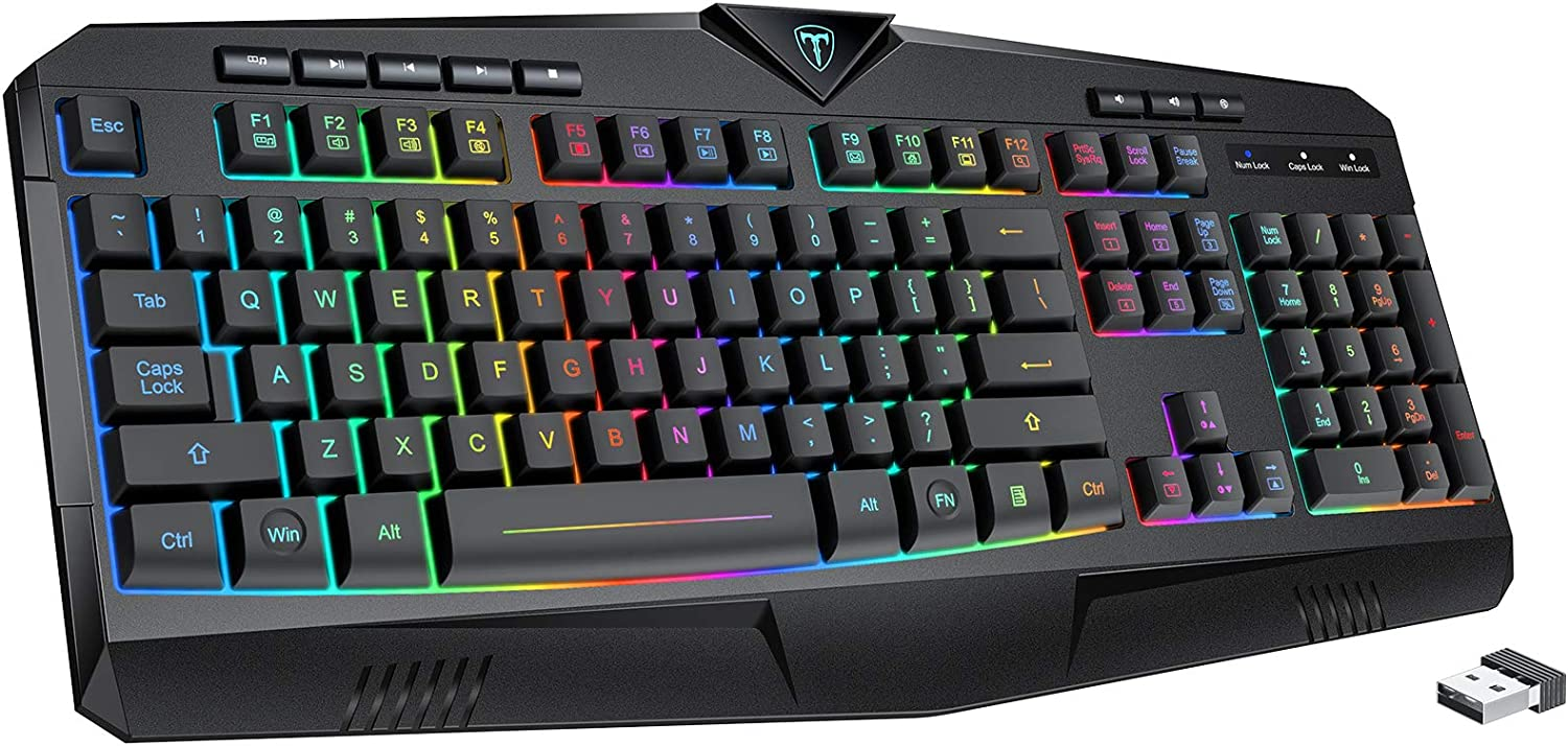 PICTEK RGB Wireless Gaming Keyboard, Rechargeable Backlit Quiet Ergonomic Splash-Proof Computer Keyboards with 8 Independent Shortcuts, 25 Keys Anti-ghosting, Splash-Proof, Ideal for PC/Mac