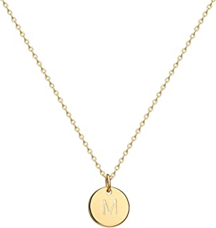 Gold Initial Pendant Necklace, 14K Gold Filled Disc Double Side Engraved 16.5