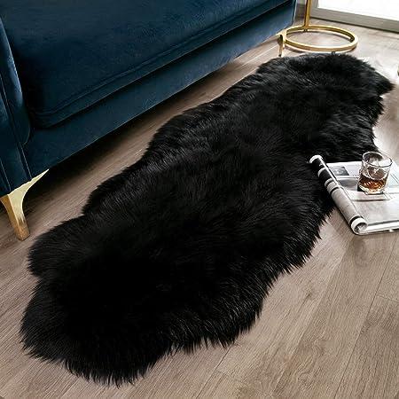 Amazon Com Ashler Soft Faux Sheepskin Fur Rug Fluffy Rugs Chair Couch Cover Black Area Rug For Bedroom Floor Sofa Living Room 2 X 6 Feet Furniture Decor