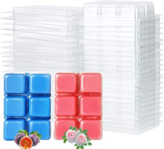 Tobeape Wax Melt Molds, 6 Cavity Clear Plastic Wax Melt Clamshells Cube Tray for Candle-Making & Soap - 50 Packs