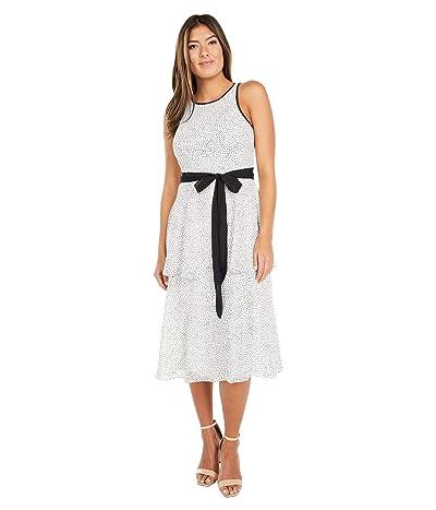 Adrianna Papell Polka Dot Printed Chiffon Tiered Dress Women