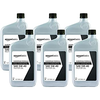 AmazonBasics Full Synthetic Motor Oil, 5W-40, Euro Formula, 1 Quart, 6 Pack