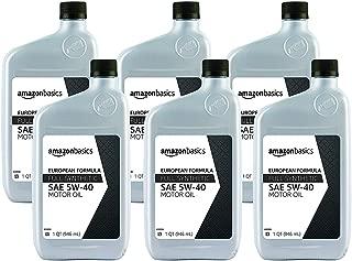 AmazonBasics Full Synthetic Motor Oil, 5W-40, Euro Formula, 1 Quart, 6 Pack