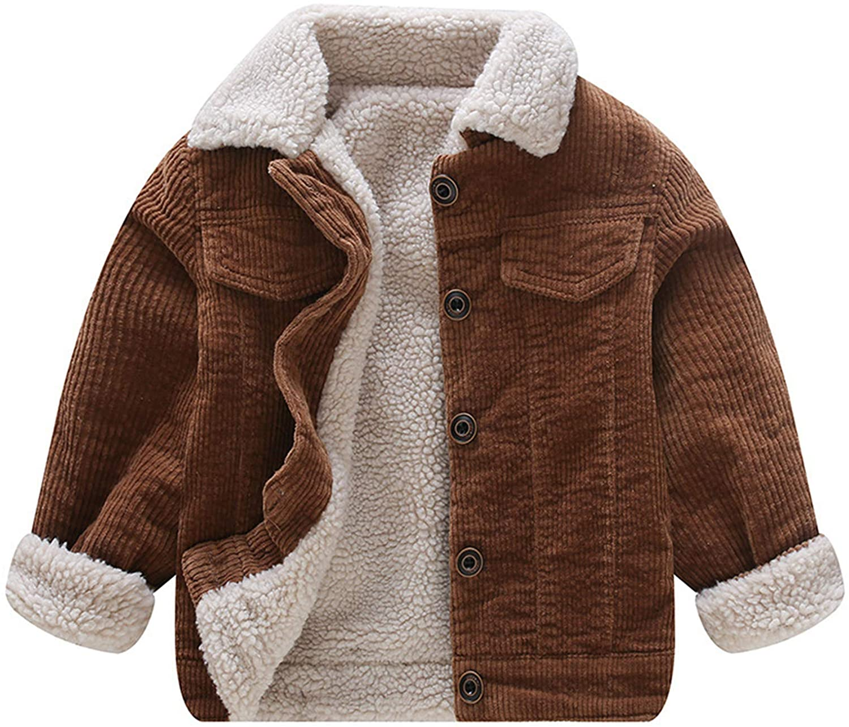Moru Toddler Boy Winter Corduroy Jacket Baby Girl Fall Sherpa Lined Outwear Coat