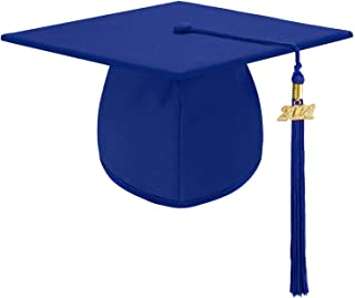 Unisex Adult Matte Graduation Cap hat with Tassel Adjustable 2021 Photography for High School and College - Royal Blue