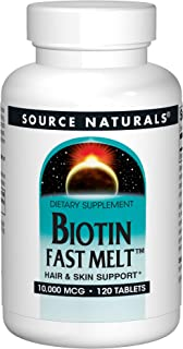 Biotin 10,000 mcg Hair Skin and Nail Support by Source Naturals. Non-GMO, Vegetarian, 120 Fast Melt Tablets