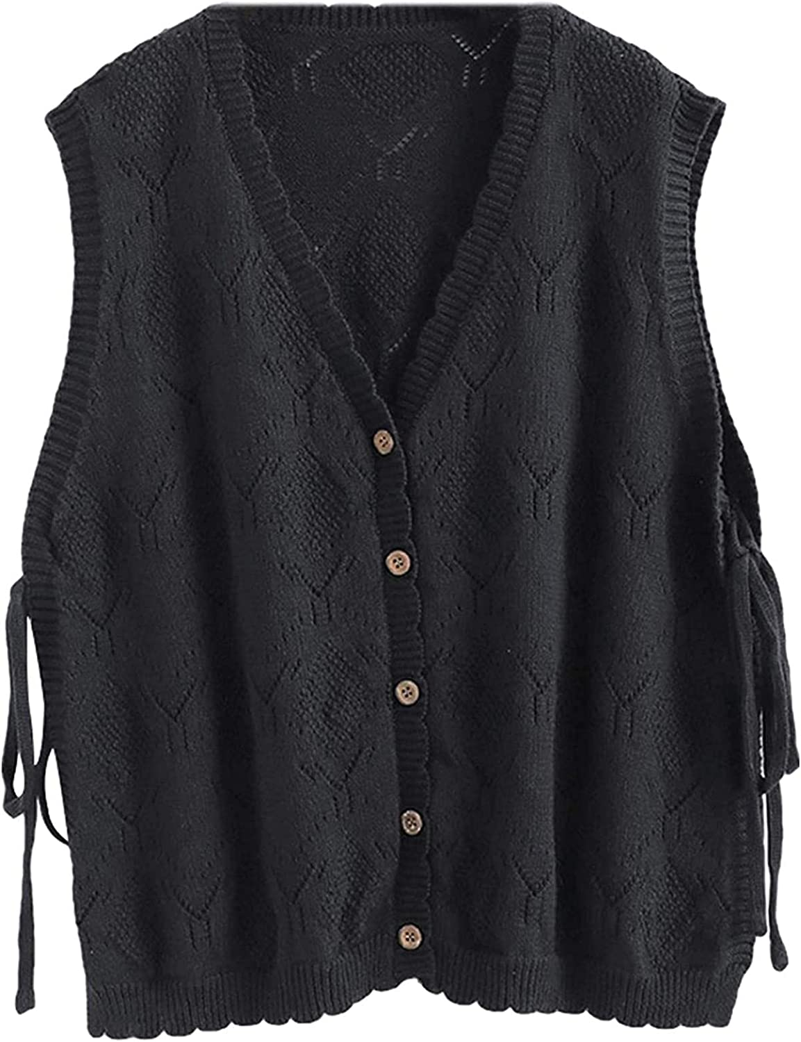 AIberx Women's Relaxed Fit Knitted V Neck Button Down Sleeveless Sweater Vest