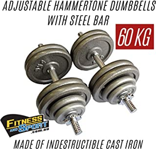 HCE 60kg Adjustable Hammertone Dumbbells Set Pro-Grade Steel Bars Pair and Cast-Iron Weight Plates Home Gym Equipment for Body Building Workout WOD Crossfit MMA Fitness Sports Training Weightlifting