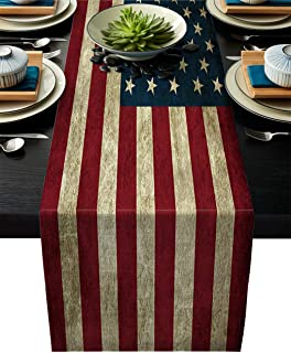 Linen Burlap Table Runner 13x90 Inches Long, Vintage American US Flag Farmhouse Table Cloth Dresser Scarf for Holiday Parties, Dining Room, Home Kitchen, Wedding Decorations