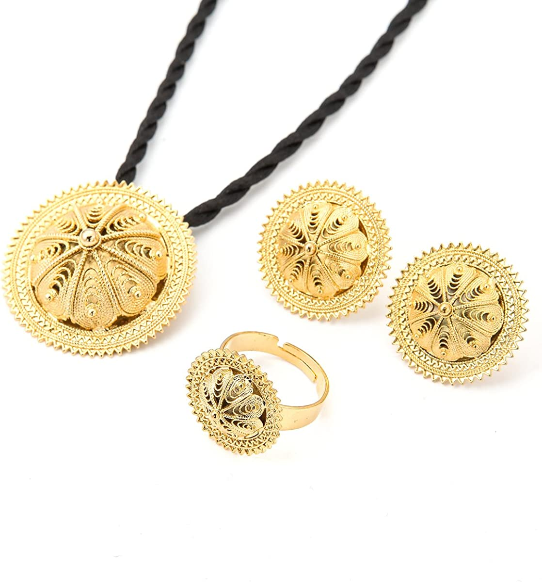 Habesha Jewelry Set Ethiopian Bridal Wedding 18k Gold Plated African 3pcs Set Nigeria Eritrea Jewelry