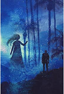 Pitaara Box Man & Ghost in Mysterious Dark Forest Canvas Painting MDF Frame 12 X 18Inch