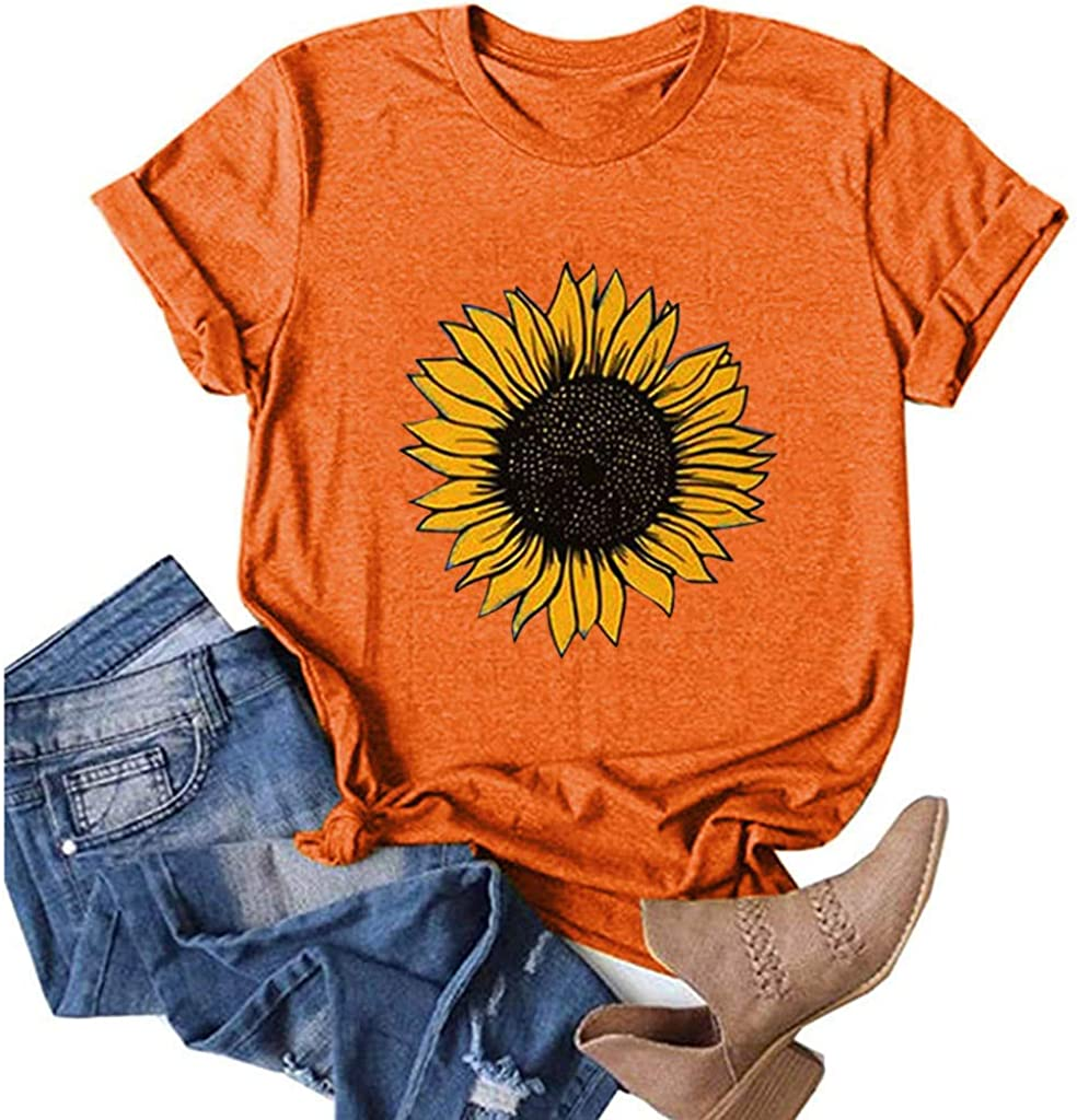 Summer Shirts for Women,Sunflower Shirts for Women Cute Graphic Tee Shirts Letter Print Funny Tee Shirts Top