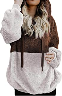 ESULOMP Women's Pullover Long Sleeve Fall Hoodies Color Block Tunics Casual Sweatshirts Oversized Hoodie with Pockets