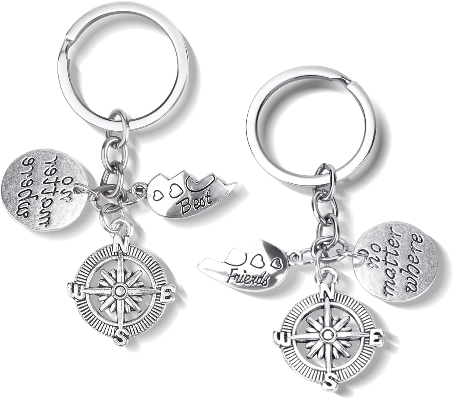 SUMKUMY 2PCs Keyring Friendship Gifts No Matter Where Keychain Long Distance Gifts Keychain Set Matching Heart Puzzle Keychain for Friends Sisters