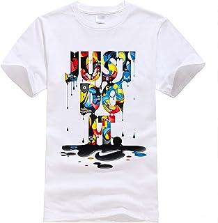 6075093510 Berax Homme T-Shirt Blanc Été à Manches Courtes Tops Imprimé Casual Tee  Shirt Blouse