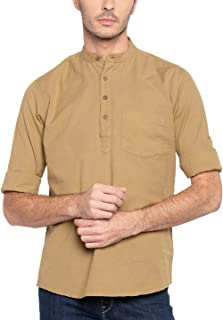 Nick & Jess Mens Beige Cotton Linen Short Kurta Shirt