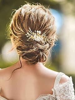 Ushiny - Pettini per capelli da sposa, con cristalli, accessorio per capelli da sposa per donne e ragazze (oro)