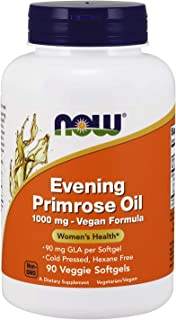NOW Supplements, Evening Primrose Oil 1000 mg, Cold Pressed, Hexane Free, Vegan Formula, 90 Veg Softgels