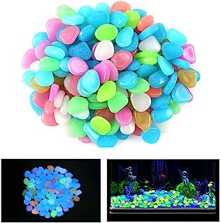100 Pcs New Colourful Glow in The Dark Pebbles Stones Rocks For Fish Tank Aquarium Garden Walkway