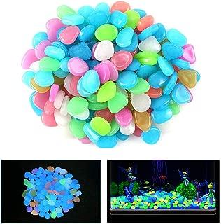 100 Pcs New Colorful Glow in The Dark Pebbles Stones Rocks For Fish Tank Aquarium Garden Walkway
