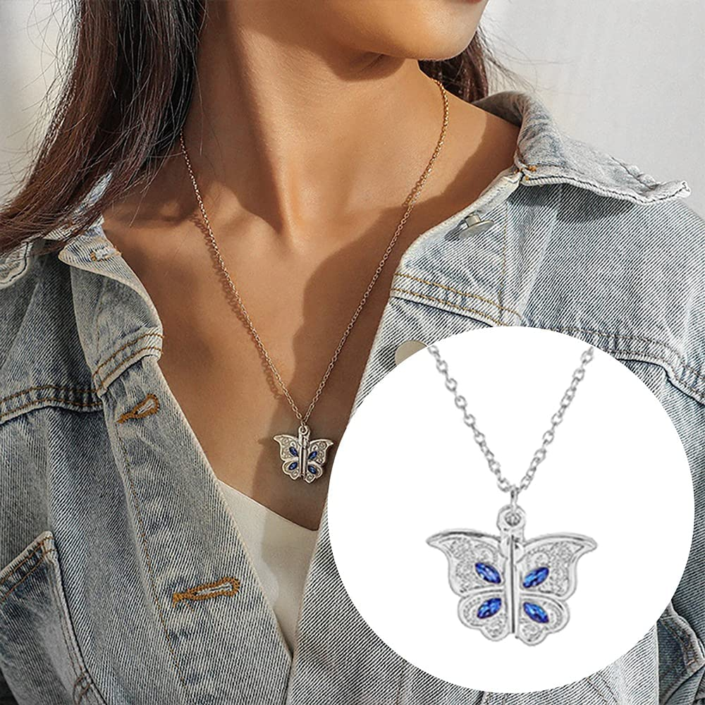 ZSWWang Butterfly Locket Necklace Neck Pendant New product! New type Adjustable Photo Max 47% OFF