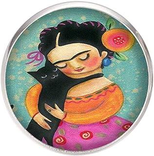 Spilla con perno in acciaio inossidabile, diametro 25 mm, spillo 0,7 mm, Fatto a Mano, Illustrazione Frida gato