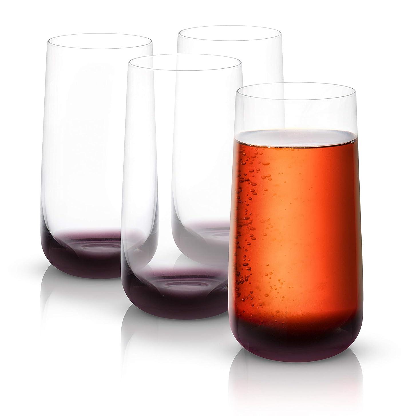 精査する会う要求JoyJolt ブラックスワン ハイボールグラス プレミアム鉛フリークリスタルグラス 容量18.2オンス 4個セット
