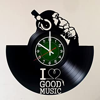 I Love Music 12 inch / 30 cm Vinyl Record Wall Clock - Headphones Gift - Gift for Boyfriend - Gift Idea for Teens and Adults - Living Room Wall Decor - Pop Art