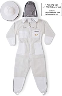 NATURAL APIARY - Zephyros Protect - Ventilated Beekeeping Suit – Total Protection for Professionals and Beginners - 2X Large - White