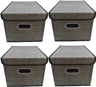 Aprilo® Lot de 4 boîtes de rangement pliables avec couvercle - Avec poignée - 40 x 30 x 25 cm