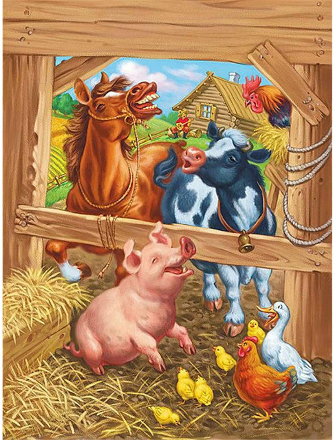 Paint by Numbers for Senior Junior Beginner Level, Paint by Numbers Set Poultry Pig with Brushes Paints and Canvas Home Decor 16X20 Inch