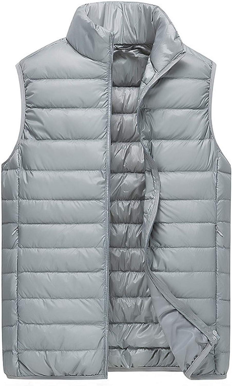 Men's Casual Padded Vest Coats Zipper Pocket Nylon Waterpoof Sleeveless Jackets Gilet for Winter Sports