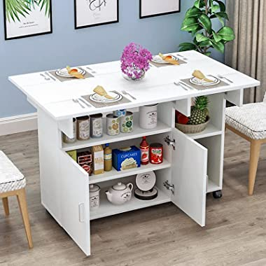 Small Dining Table for 4, Expandable Kitchen Table, Drop Leaf Table w/Wheels, Farmhouse Space Saving Wood Square Folding Rust