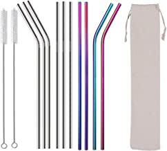 """KRKL Metal Straws Drinking Straws Stainless Steel Straws Reusable 12 SET - Ultra long of 10.5"""" Rainbow & Silver Colored fo..."""
