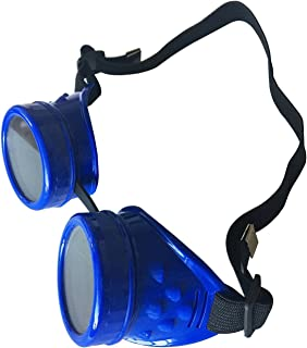 Wocst New Sell Vintage Steampunk Goggles Glasses Welding Cyber Punk Gothic (Blue)