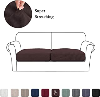 2 Pieces Sofa Seat Slipcovers, Couch Cushion Covers Stretch Spandex Non Skid Jacquard Fabric Furniture Protector (2 Pieces Cushion Covers, Brown)