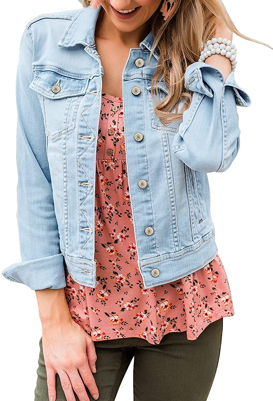Vetinee Womens Stretch Button Down Long Sleeve Pockets Denim Jean Trucker Jacket