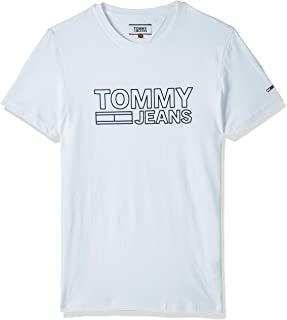Tommy Jeans Men's TJM Contoured Corp Logo T-Shirt, (Classic 100), Medium
