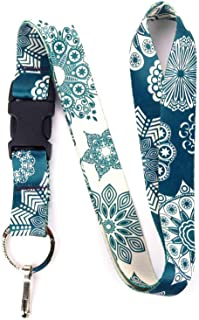 Buttonsmith Denim Lace Premium Lanyard - with Buckle and Flat Ring - Made in The USA