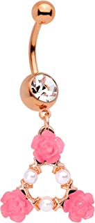 14G Plated Steel Navel Ring Piercing Clear Accent Rosy Triangle Roses Belly Button Ring 1/2